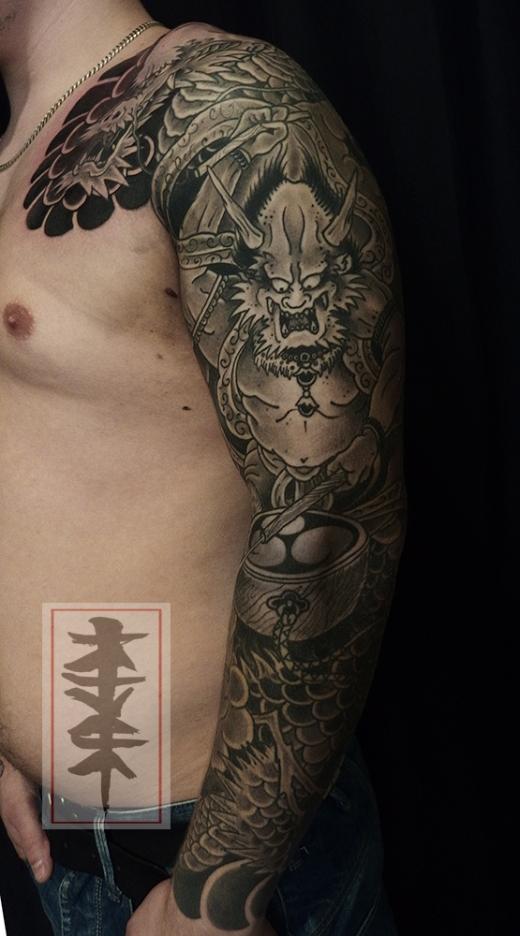 raijin and dragon tattoo